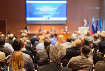 Business Conference and Presentation. Audience at the conference hall.
